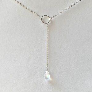 Moonstone Silver Lariat Y Necklace 925 SS